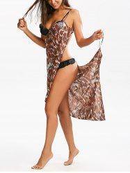 Cheetah Print Double-Deck Beach Cover Up - Multicolore