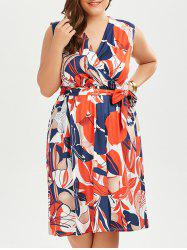 Plus Size Sleeveless Printed Surplice Dress