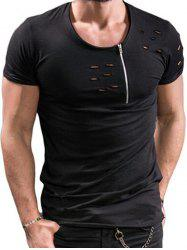 Zipper Design Hollow Out Short SleevesT-shirt