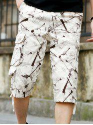 Printed Cargo Shorts with Multi Pockets - OFF-WHITE