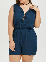 Plus Size Lace Up Sleeveless Romper
