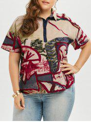 Linen  Button Graffiti Printed Plus Size Top