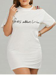 Plus Size Long Cutout Shoulder Graphic T-Shirt
