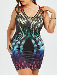 Ombre Sleeveless Plus Size Bodycon Dress
