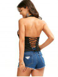 Criss Cross Backless Halter Tank Top - BLACK