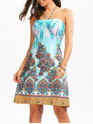 Tribal Totem Print Empire Waist Halter Dress - COLORMIX