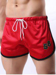 Figure Print Mesh Training Shorts - RED XL