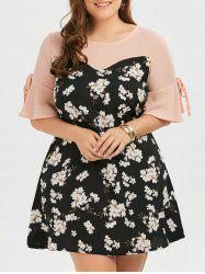 Plus Size Bow Tie Chiffon Floral Dress with Flare Sleeve