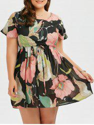 Plus Size Drawstring Mini Floral Cold Shoulder Dress