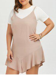 Plus Size Drop Waist Slip Dress and Plain T-shirt
