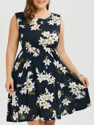 Floral Plus Size Mini A Line Dress - PURPLISH BLUE 4XL