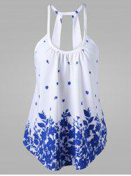 Printed Cami Trapeze Tank Top - WHITE
