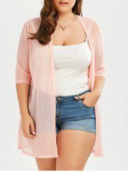 Plus Size Collarless Ribbed Long Sheer Cover Up Kimono
