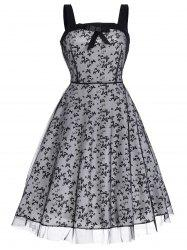 Vintage Butterfly Print Bowknot Flare Dress
