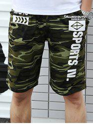 Graphic Printed Drawstring Camo Shorts