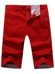 Straight Zip Fly Chino Shorts - RED