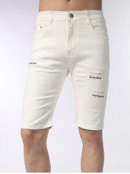 Zip Fly Embroidered Distressed Shorts
