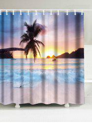 Tropical Coconut Tree Waterproof Fabric Shower Curtain