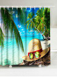 Seaside Straw Hat Waterproof Bath Curtain
