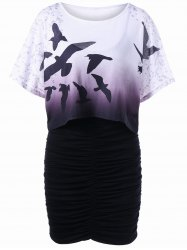 Birds Ombre Tee and Bodycon Slip Dress