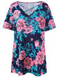 Floral Plus Size Casual Lattice T-shirt - COLORMIX XL