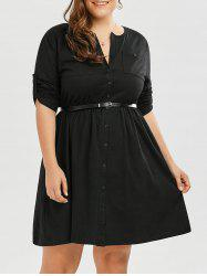 Plus Size V Neck Button Up Dress
