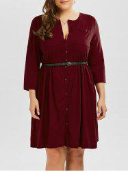 Plus Size V Neck Button Up Dress - WINE RED 3XL