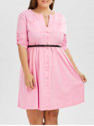 Plus Size V Neck Button Up Dress -