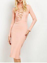 Midi Lace Up Ribbed Long Sleeve Sheath Dress