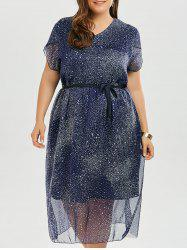 Stars Printed Chiffon Plus Size Flowy Dress -