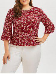 Plus Size Leaf Print Chiffon Top