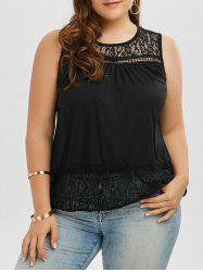 Back Slit Lace Trim Sleeveless Plus Size Top