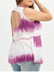 Cut Out Tie Dye Plus Size Tank Top