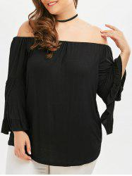 Off The Shoulder Flare Sleeve Plus Size Top