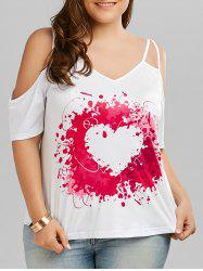 Plus Size Heart Painting Print Cold Shoulder Top
