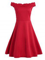 Scallop Neck Fit and Flare Work Dress