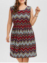 Printed Elastic Waist Plus Size Beach Tank Dress