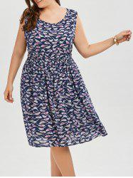 Printed Elastic Waist Plus Size Swing Dress