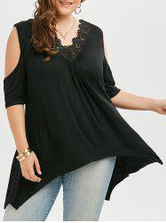 Lace Trim Plus Size Asymmetric Open Shoulder Long T-shirt