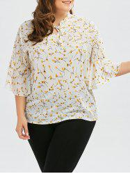 Plus Size Ruffle Neck Floral Top with Bell Sleeve