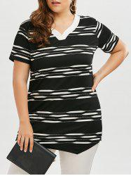 Long V Neck Stripe Plus Size T-shirt