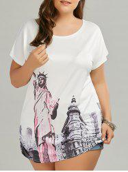Plus Size Statue of Liberty Printed Long T-shirt