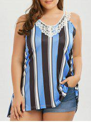 Plus Size Lace Panel Plunge Long Stripe Tank Top