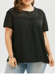 Openwork Round Neck Plus Size Plain T-Shirt