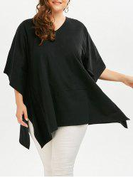 Plus Size Batwing Sleeve V  Neck Plain T-shirt
