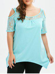 Plus Size Lace Insert Cold Shoulder Asymmetric Top