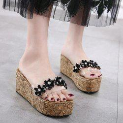 Flowers Transparent Plastic Rhinestones Slippers