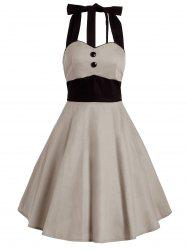 Vintage Contraste Halter Flare Dress - Kaki Clair