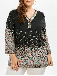 Tiny Floral Beaded Plus Size Tunic