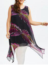 Feather Print Chiffon Plus Size Asymmetrical Dress